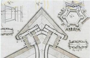 """1680 – Revelim, segundo o """"Método Luzitano de Desenhar Fortificações"""", de Serrão Pimentel"""
