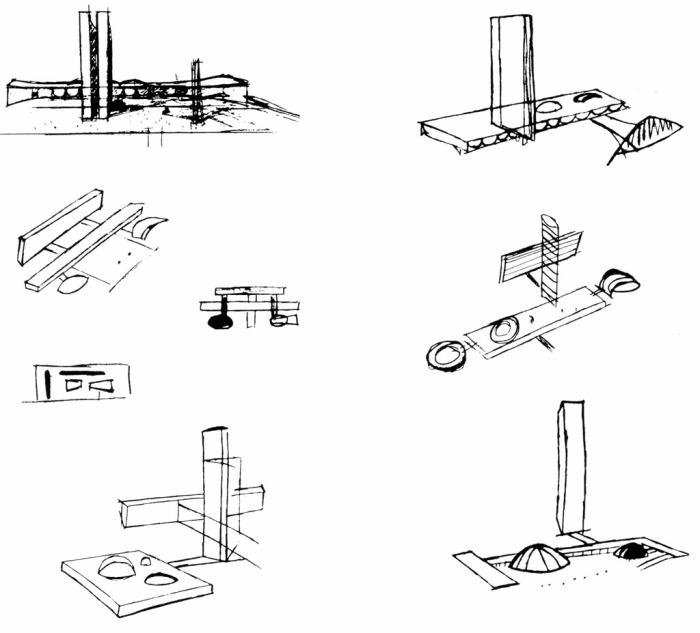 Figura 1 – Parte dos Croquis de Estudos Preliminares para o Congresso Nacional. Oscar Niemeyer. 1957.