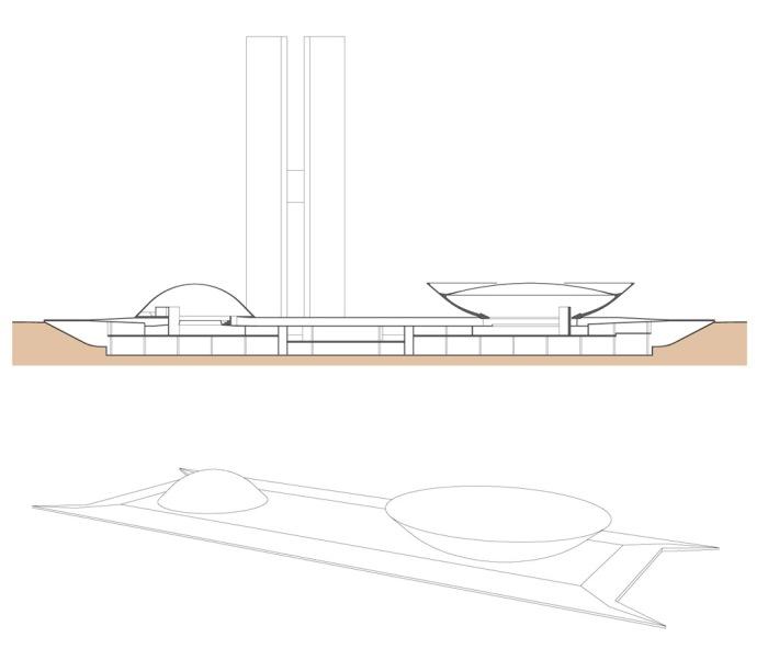 Figuras 19 e 20 – Projeto Executado – Corte Longitudinal | Maquete da plataforma das cúpulas, conforme executado. 2008.
