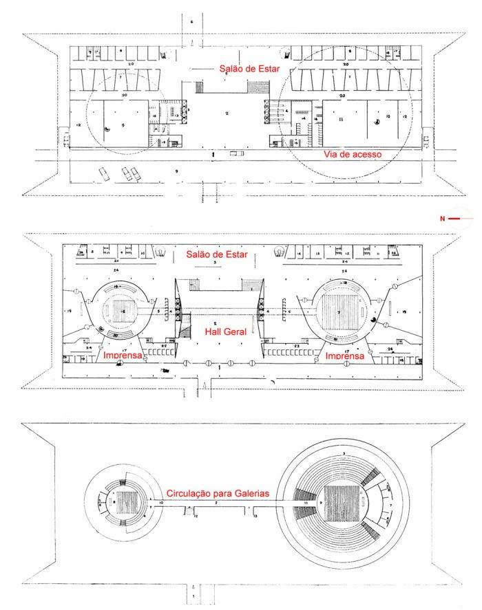 Figura 5 – Anteprojeto 02 – Edifício Principal – Pavimento Semi-enterrado | Pavimento Térreo | Esplanada. 1957.
