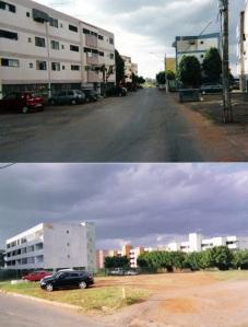 Edifícios do Conjunto Residencial Lucio Costa (Lucio Costa, Distrito Federal, 1972-1985). Princípios de edificação semelhantes, empregados em diferente contexto. Foto - Eduardo Souza, 2006.