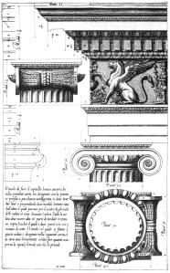 Entablamento e capitel jônico, segundo o tratado de Vignola (1562)