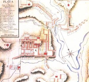 """Figura 2: """"Plãta da cidade de Mariana"""" (meados séc. XVIII)      (Fonte: Arquivo Histórico do Exército/RJ; foto do autor)"""