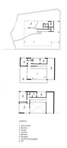Fig. 1 – Residência na Lagoa. Oscar Niemeyer, 1942.  Plantas do térreo, do primeiro e segundo pavimentos. Fonte: CAVALCANTI (2001)