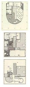 Fig. 2 – Villa Savoye. Le Corbusier, 1929.  Plantas do térreo, do primeiro pavimento e do solário.  Fonte: CORBUSIER (1990)