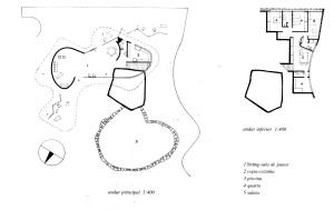Fig. 3 - Residência de Canoas. Oscar Niemeyer, 1953.  Planta dos andares principal e inferior. Fonte: MINDLIN (1999)