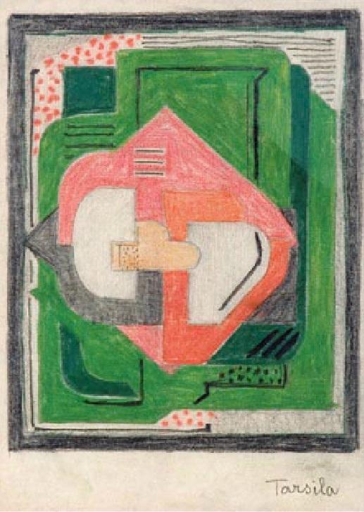 Estudo colorido de composição cubista I, Tarsila do Amaral, c. 1923.