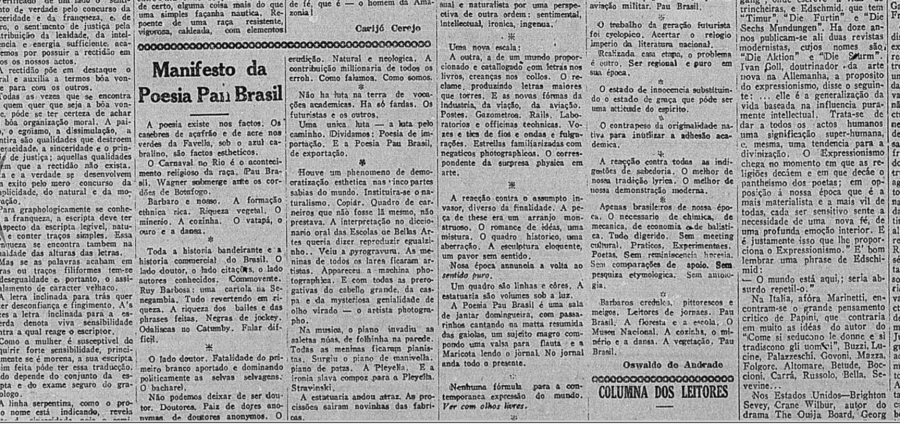 Manifesto da Poesia Pau Brasil, Oswald de Andrade, 1924.