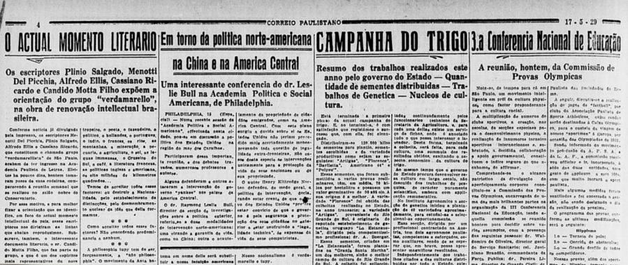 Nheengassu da tribu verdamarella, Plinio Salgado, Menotti del Picchia, Alfredo Ellis, Cassiano Ricardo e Cândido Mota Filho, 1929.